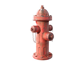 fire hydrant low poly 3D asset game-ready