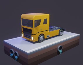 3D asset game-ready Low Poly Truck