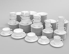 3D Verona coffee cup set oprtimized Blender Cycles