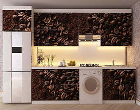 3D model low-poly Kitchen CoffeeColor