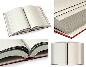 3D asset Open book with red cover