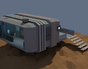 Low Poly Cartoony Sci Fi Building 3D model