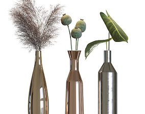 3D Metal vases decor set