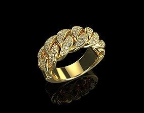 3D print model gold-ring Diamond Cuban Ring N5