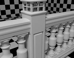 Exterior Railing - White Vinyl - Style 15 3D model