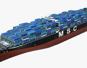 3D asset realtime Container ship MSC Ariane