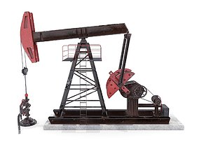 3D asset Oil Pumpjack Animated 2