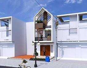 House design 3d model curtain animated