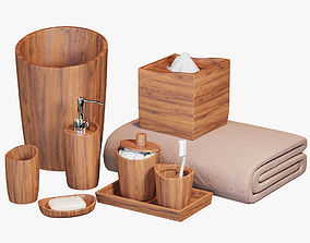 wastebasket Acacia Handcrafted Wood Bath Accessories 3D