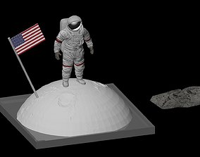 3D printable model Astronaut on the moon with a flag