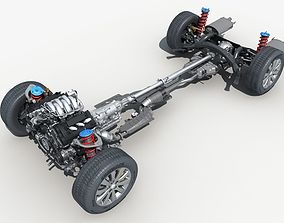 Car Chassis with Engine 3D model
