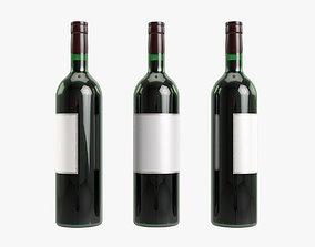 3D model Red wine bottle alcohol
