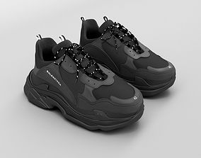 balenciaga triple s black 3D