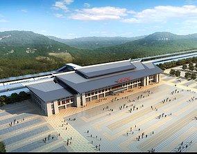 3D Modern railway terminal 001