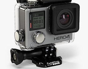 3D asset GoPro HERO4 Silver Edition action camera with 2