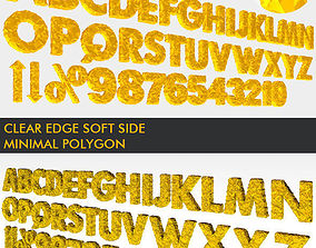 realtime 3D Golden Polygonal Alphabet 39 PCS