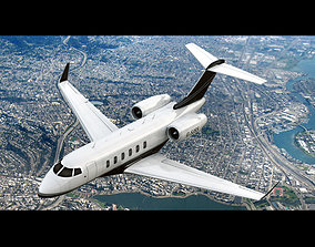 3D model animated Bombardier Challenger 300 Private Jet
