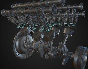 3D v6 Engine Animated