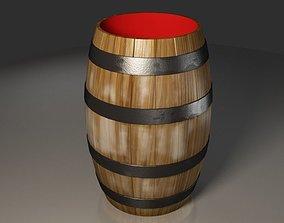 3D Interior Red Wooden Barrel