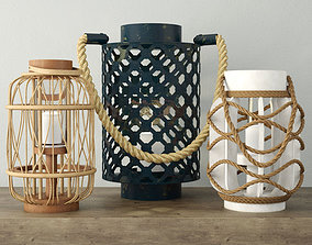 Rope and Rattan Lanterns 3D model