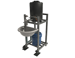 Foot Operated Hand Wash with Sink 3D asset