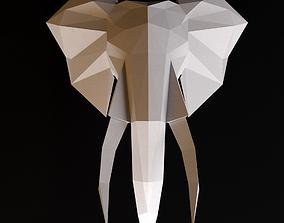 3D Elephant head low poly