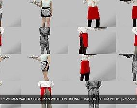 5x WOMAN WAITRESS BARMAN WAITER PERSONNEL BAR 3D model 1