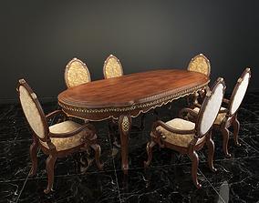 European Carved Dinning Set 3D