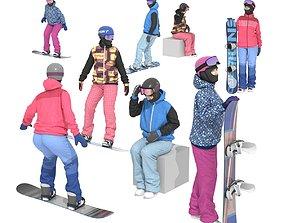 Snowboarder girls 3D