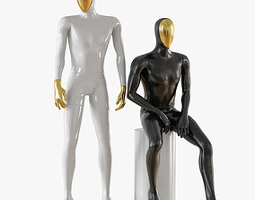 3D model Abstract male mannequin gold face 23 figure