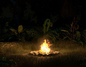 animated Campfire Volumetric Loop and 3D Model