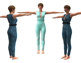 rigged 3d realistic womans with clothing design