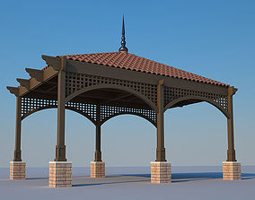 Pergola with roof tiles 3D model
