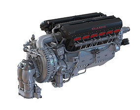 Piston Aero Engine Rolls Royce Merlin 3D