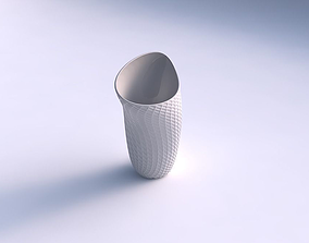 3D printable model Vase vortex with diagonal grid dents