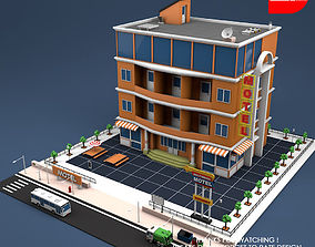 Low Poly Motel Building 3D model