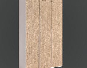 3D model Wardrobe- Modern oak cabinet without handles