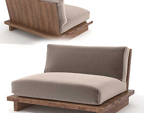 3D Restoration Hardware oak brule sled chair