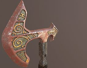 3D model Battle Axe Poly and Tris Textured