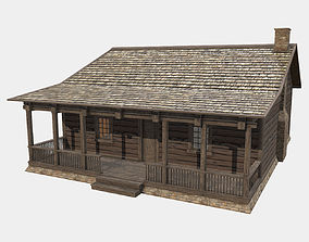 Low Poly PBR Wood Log Hunting Cabin with interior 3D asset