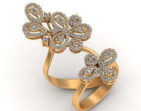 3D print model Long Finger Flower Diamond Gold Ring