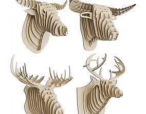 3D model Plywood set of animal heads