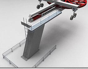 Ski lift cableway pillars 3D