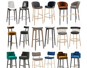Bar chair 3d models collection 10 pieces