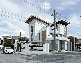 modern animated Exterior House design 3d model
