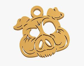 Pig muzzle trinket 3D printable model
