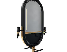 hairdresser table mirror black gold 3D model