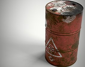 Abandoned Oil Drum rusted PBR Game 3D model