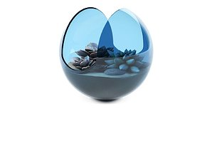 Tom Dixon - Plum Glass Serve Bowl with succulent plants 3D