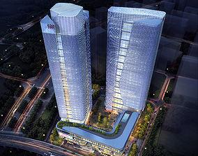 3D apartment-building Skyscraper Office Building